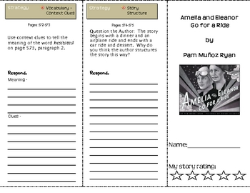 SF Reading Street Grade 4 Amelia and Eleanor Comprehension Trifold