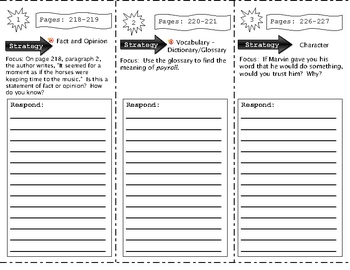 SF Reading Street Grade 4 Marven of North Woods Comprehension Trifold