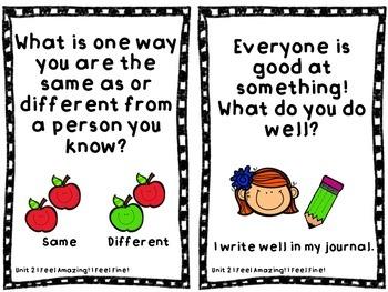SFA KinderCorner Writing Prompt Cards Unit 2