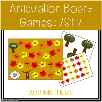 /SH/ Articulation Board Games - Fall Theme
