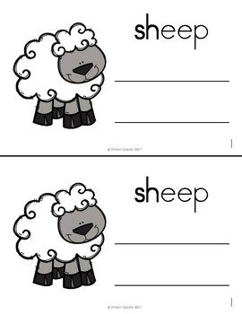 SH Book- Beginning Digraph Phonics Book- Color and Black & White Copy