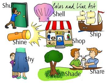 SH Blend Phonics Clip Art Set - Color and Line Art 16 pc set