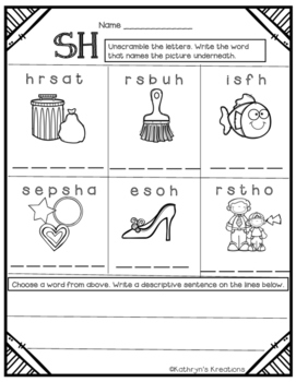SH Digraph: Unscramble The Words