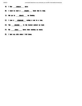 SH CH Cloze Sentences (I-Station Builder Series)