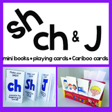 SH CH J Articulation Playing Cards, Mini Books, & Cariboo Cards Speech Therapy