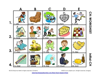 SH-CH-TH Vocabulary Grids: Initial
