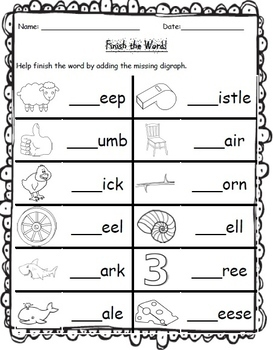 10-ch and -sh Ending Digraph Worksheets. 1st Grade Literacy ...