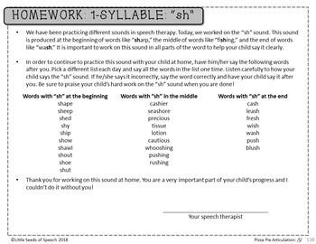 SH SOUND Pizza Articulation Cards for Single & Multisyllabic Words & Sentences