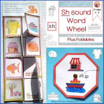 SH Sound Word Wheel and foldable worksheet