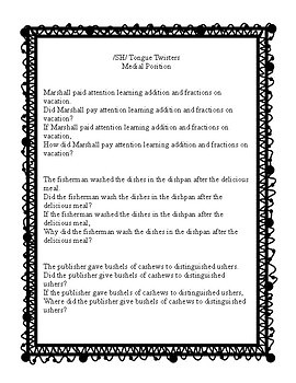 Tongue Twisters for /sh/ - A great carryover activity