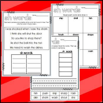 SH Words Worksheets
