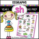 Digraphs: SH  Worksheets ~ NO PREP Printables