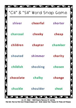 ch and sh words phonics snap card game for middle primary