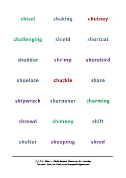 CH and SH Words: Phonics Snap Card Game for Middle Primary