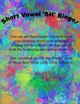 'SH' digraph Bingo