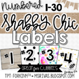 SHABBY CHIC Numbered Cubby Labels (fits TARGET square pockets)