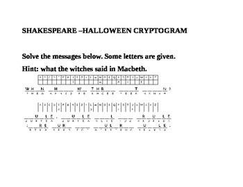 SHAKESPEARE HALLOWEEN CRYPTOGRAM