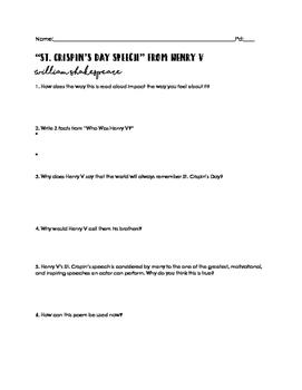 SHAKESPEARE: Henry V / St. Crispin's Speech