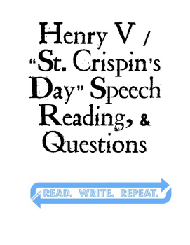 SHAKESPEARE: Henry V / St. Crispin's Speech