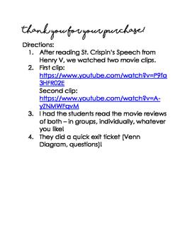 SHAKESPEARE: Henry V / St. Crispin's Speech Movie Reviews [EXTENSION]