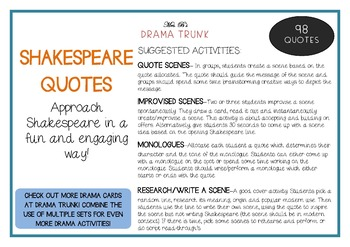 SHAKESPEARE QUOTES / LINES Drama / English Cards (+ suggested drama activities)