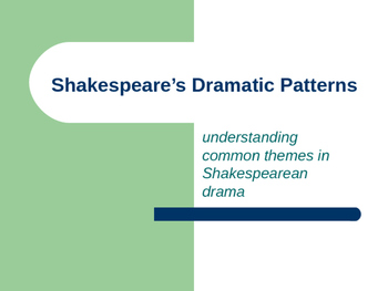 SHAKESPEARE'S DRAMATIC PATTERNS POWERPOINT LECTURE
