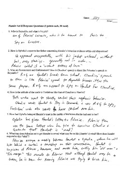 SHAKESPEARE'S HAMLET ACT III COMPREHENSION QUESTIONS PLUS ANSWER KEY