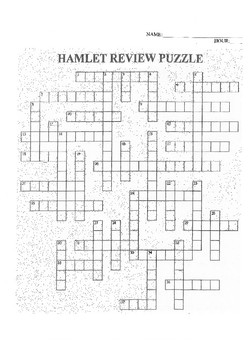 SHAKESPEARE'S HAMLET REVIEW CROSSWORD PUZZLE WITH ANSWER KEY