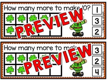 SHAMROCK MATH MAKE TEN GAME (ST. PATRICK'S DAY MATH) MARCH ACTIVITY KINDERGARTEN