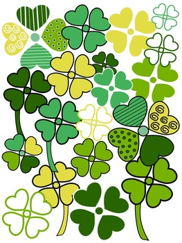 SHAMROCK CLIP ART * COLOR AND BLACK AND WHITE
