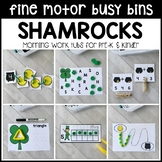 SHAMROCKS Fine Motor Busy Bins - St. Patrick's morning work tubs Pre-K & Kinder