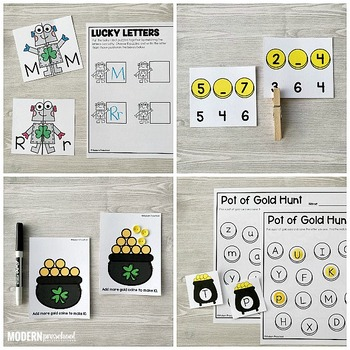 SHAMROCKS Literacy & Math Centers for St. Patricks Day (Preschool, PreK, Kinder)