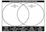 SHAPE - Comparing 2D and 3D Shapes (Venn Diagram)