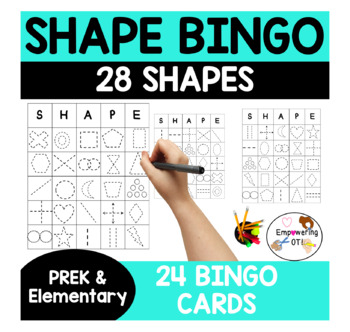 SHAPE + FINE MOTOR  BINGO GAME! 28 shapes & 24 cards ! k12345 sped