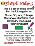 SHAPE POEMS **EASY TO READ & LEARN SHAPES * black & white and color set