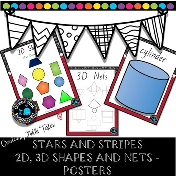 SHAPE POSTERS-Stars and Stripes Design. Back to School