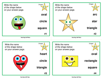 GEOMETRIC SHAPES Task Cards | + Cut and Paste | MATH | REVIEW| Gr 2-3 CORE