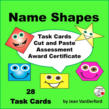 GEOMETRIC SHAPES Task Cards | + Cut and Paste | MATH | REV
