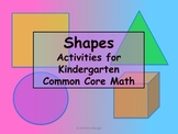 SHAPES 20 Kindergarten Activities Math Pack Common Core -