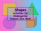 SHAPES 20 Kindergarten Activities Math Pack Common Core -