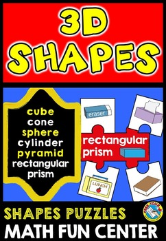 REAL LIFE SHAPES CENTER: 3D SHAPES PUZZLES: SOLID SHAPES ACTIVITIES: GEOMETRY