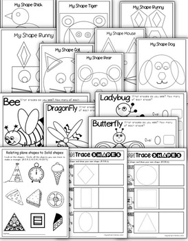 SHAPES- 60+NO PREP PRINTABLES FOR KINDERGARTEN