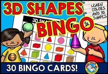 3D SHAPES BINGO GAME (SOLID SHAPE RECOGNITION ACTIVITY)