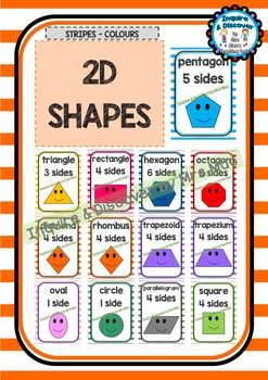 Back To School - SHAPES CHART - Classroom Decor - Posters - Stripes