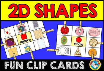 FLAT SHAPES CENTERS: 2D SHAPES CLIP CARDS: REAL LIFE OBJEC