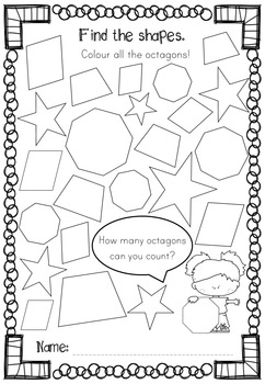 SHAPES - Confetti, Find the Shape, Count the Shapes No Prep Worksheets