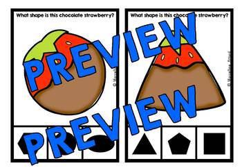 SHAPES KINDERGARTEN CENTER (CHOCOLATE STRAWBERRY SHAPES RECOGNITION CARDS)