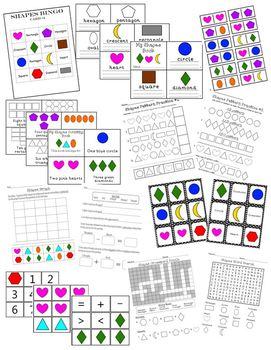 SHAPES Learning Activity Set Pack **Reading, Math & Writing**