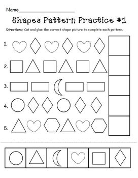 shapes pattern practice page by the mcgrew crew tpt. Black Bedroom Furniture Sets. Home Design Ideas
