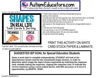 "SHAPES Task Cards ""Task Box Filler"" for Special Education and Autism"